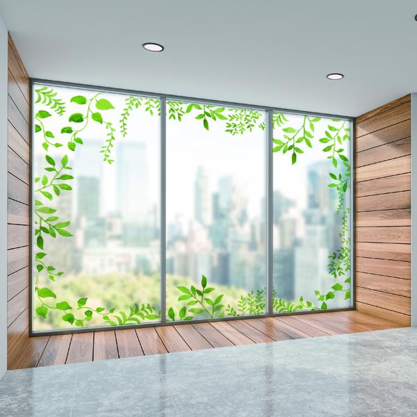 ガラスフィルム 目隠し 日除け グリーン 植物